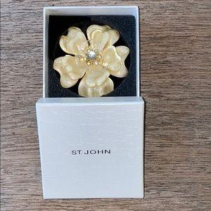 St. John Vintage Cream Swarovski Flower Brooch